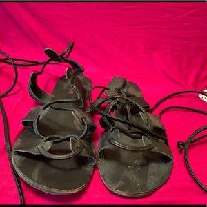 Black Flat Sandals; Just Fab; Size 10